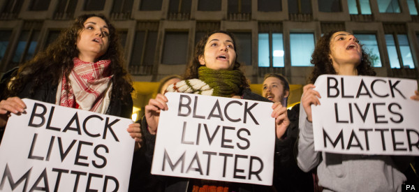 Demonstrators Gather Outside US Embassy In London To Protest Ferguson Decision