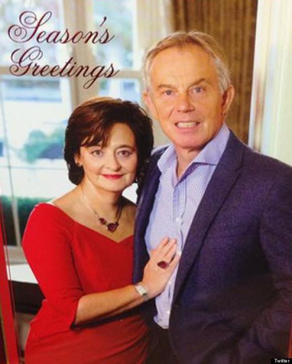 tony blair cheri christmas card