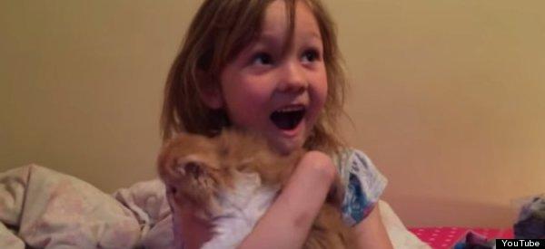 girl gets kitten