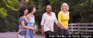 OLDER WOMEN EXERCISING OUTSIDE