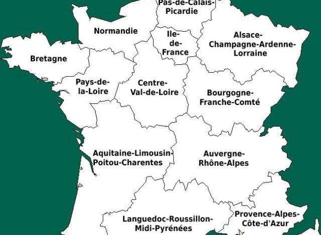 france carte con le nouvelles region et capitale - Image