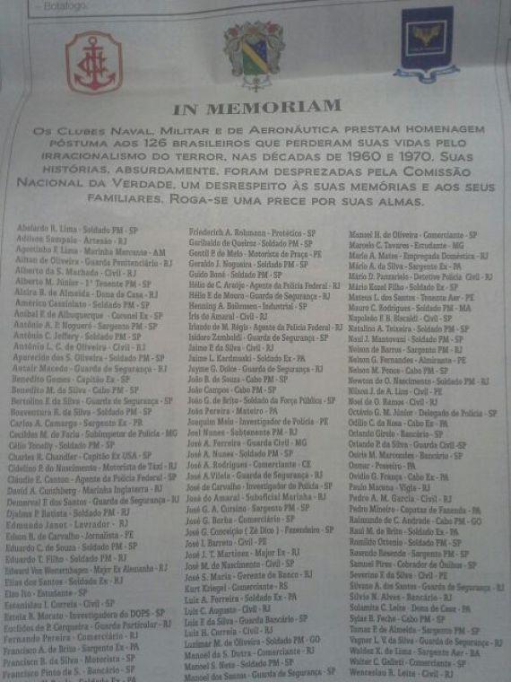 anúncio vítimas do terror
