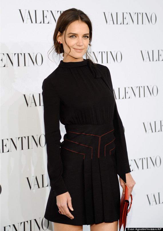 katie holmes is beautiful in all black at valentino event