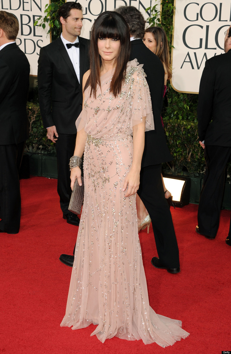 Sandra Bullock who wore a Jenny Packham gown looked beautiful with her no ...