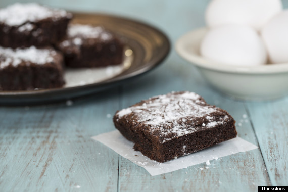 brownies dusted with powdered sugar