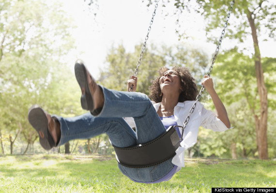 adult on swing