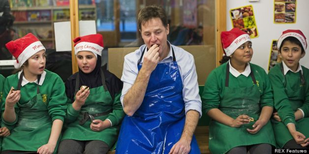 nick clegg looking sad eating mince pie