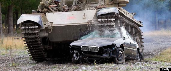 tank crushing car