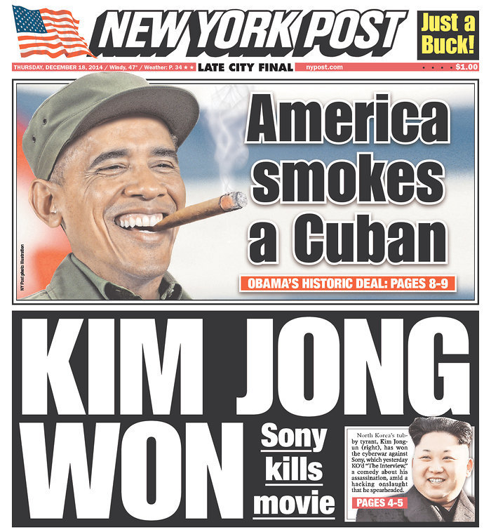 New York Daily News Cover: New York Tabloids React To U.S.-Cuba Deal With Cigar