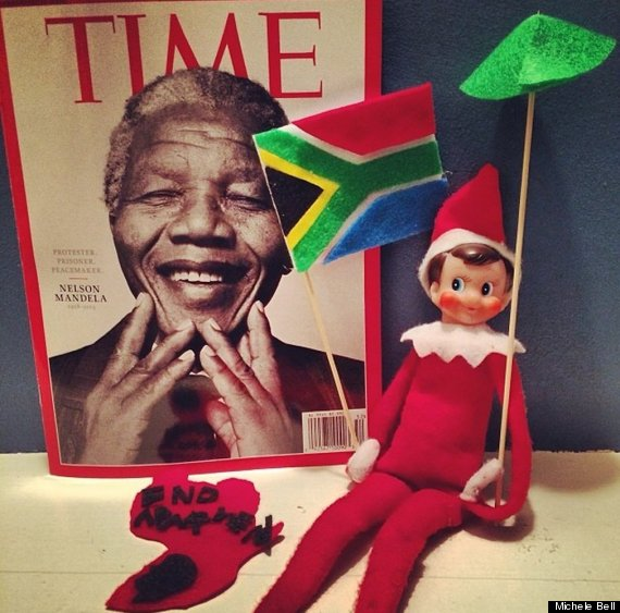 Elf on the Shelf supporting Nelson Mandela