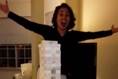 Woman wins at Jenga | Pic: YouTube