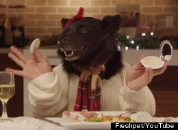 Dogs With Hands Eating Christmas Dinner. You're Welcome...