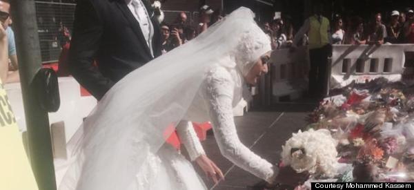 Muslim Bride Adds Wedding Bouquet To Memorial For Sydney Siege Victims