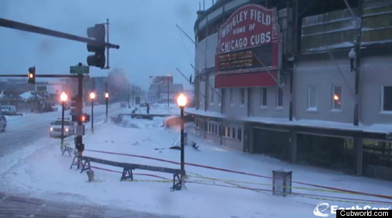 Wrigley Field Roof Damaged By Snow Storm Photo Huffpost
