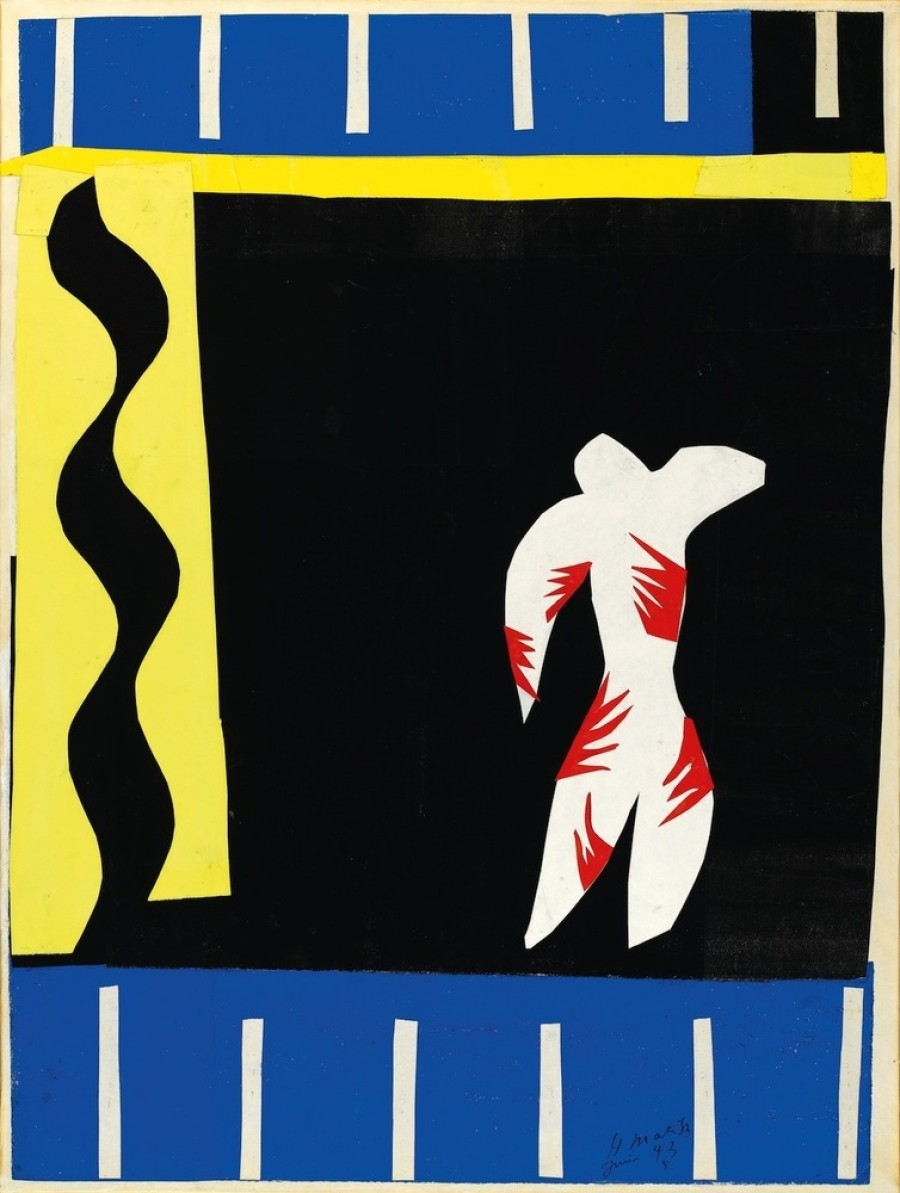 the world of henri matisse and his paper cutout universe huffpost henri matisse french 1869 1954 the clown le clown 1943 maquette for plate i from the illustrated book jazz 1947 gouache on paper cut and pasted