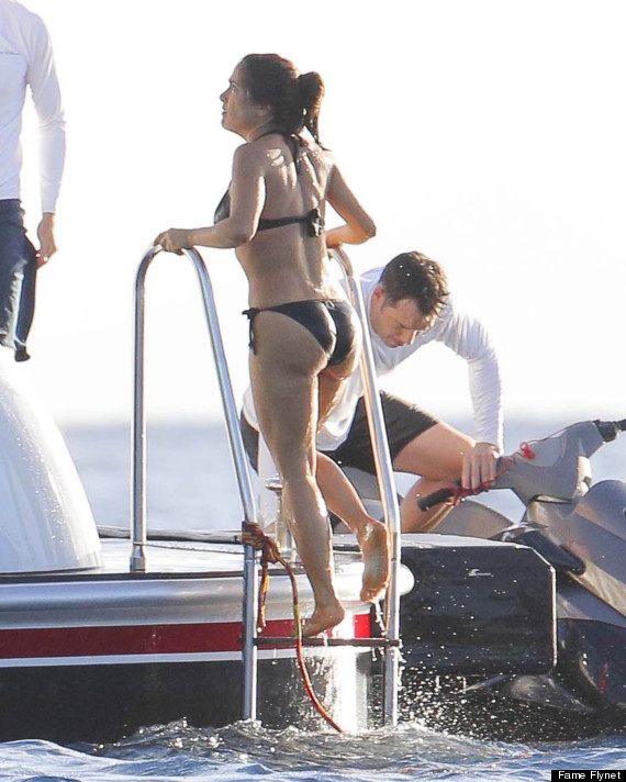 Salma Hayek Relaxes In A Bikini On A Yacht In St Barts