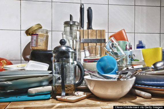 cluttered counter