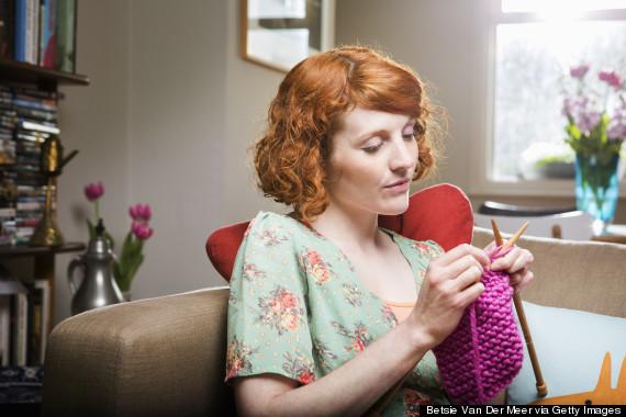 knitting young woman