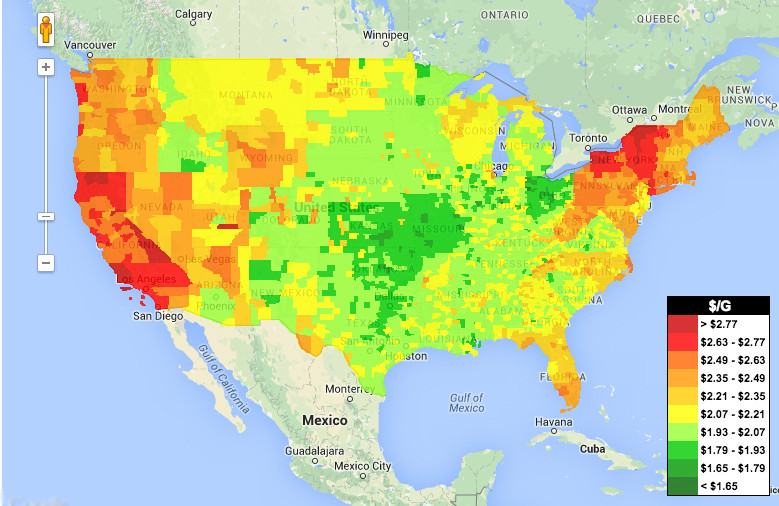 Look At How Cheap Gas Is Everywhere HuffPost - Cost of living us map