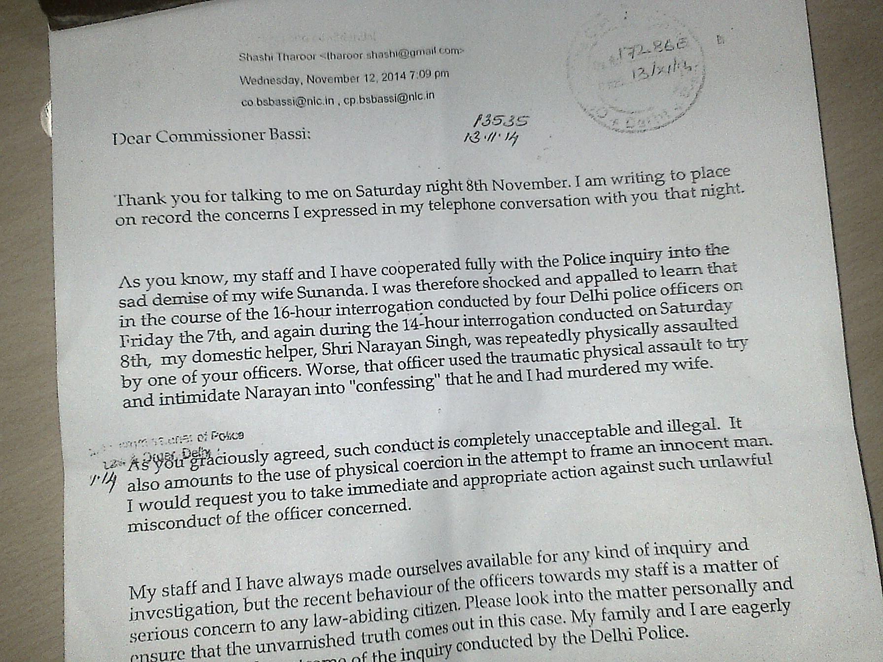 shashi tharoor letter