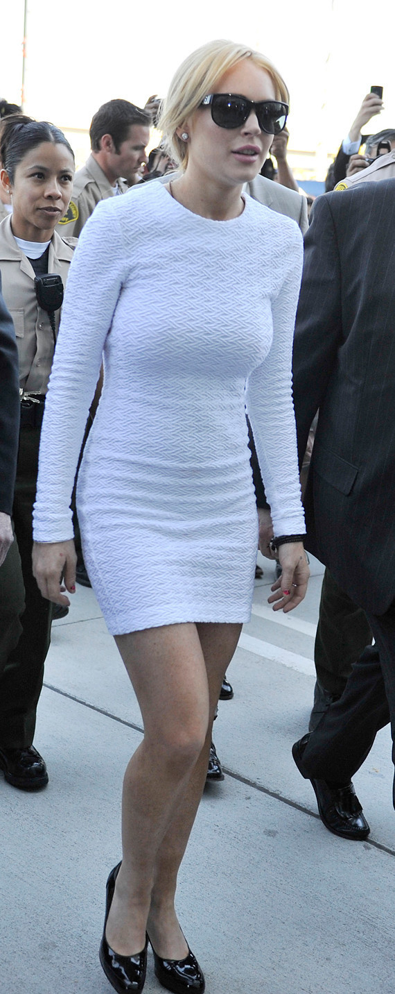 Lindsay Lohan Wears White Dress, Shows Lots Of Leg At Court ...