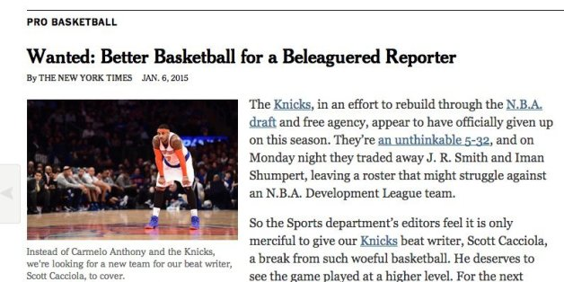 Images New York Times Trolls Horrible Knicks With Amazing