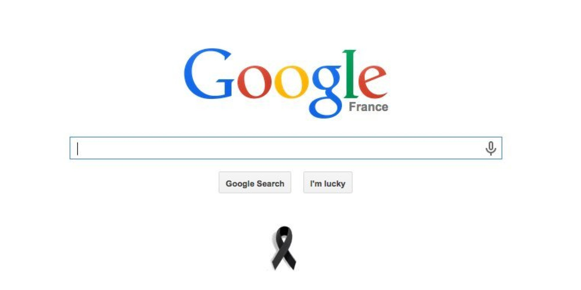 charlie hebdo google france displays black ribbon on home page as country mourns 12 killed. Black Bedroom Furniture Sets. Home Design Ideas