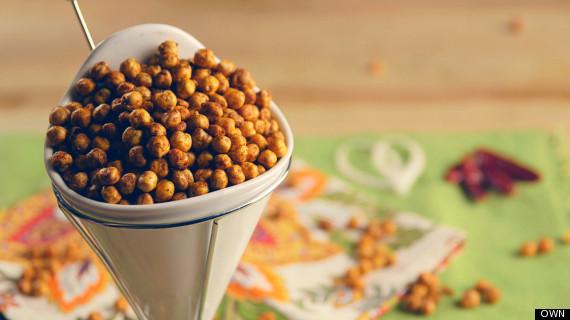 smoky paprika baked garbanzo beans snack