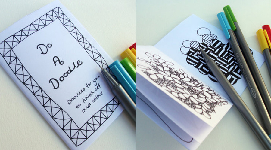 Printable Mini Zine Coloring Books Pens