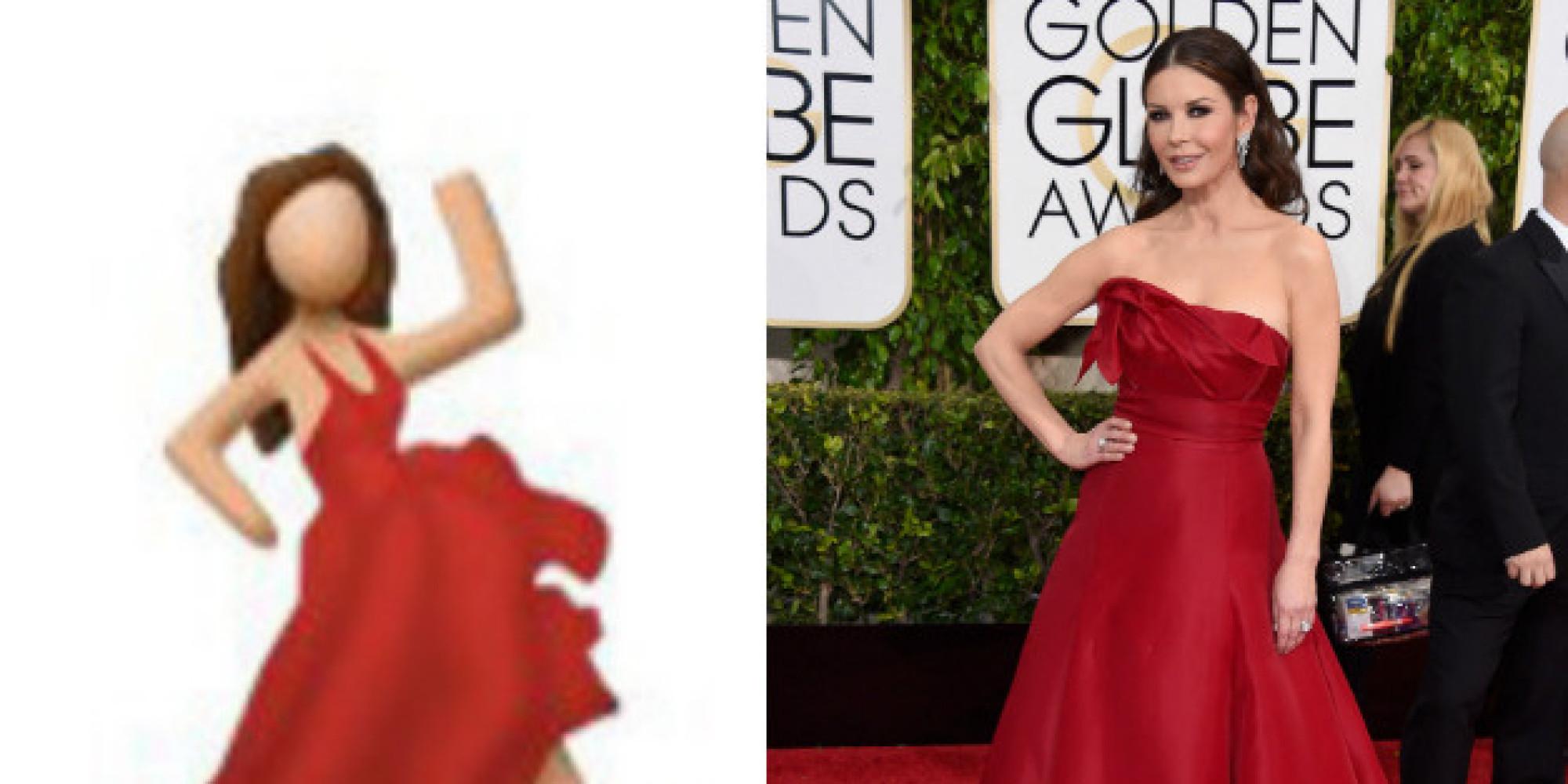 Golden globes red dress emoji