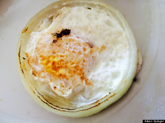 fried egg in onion