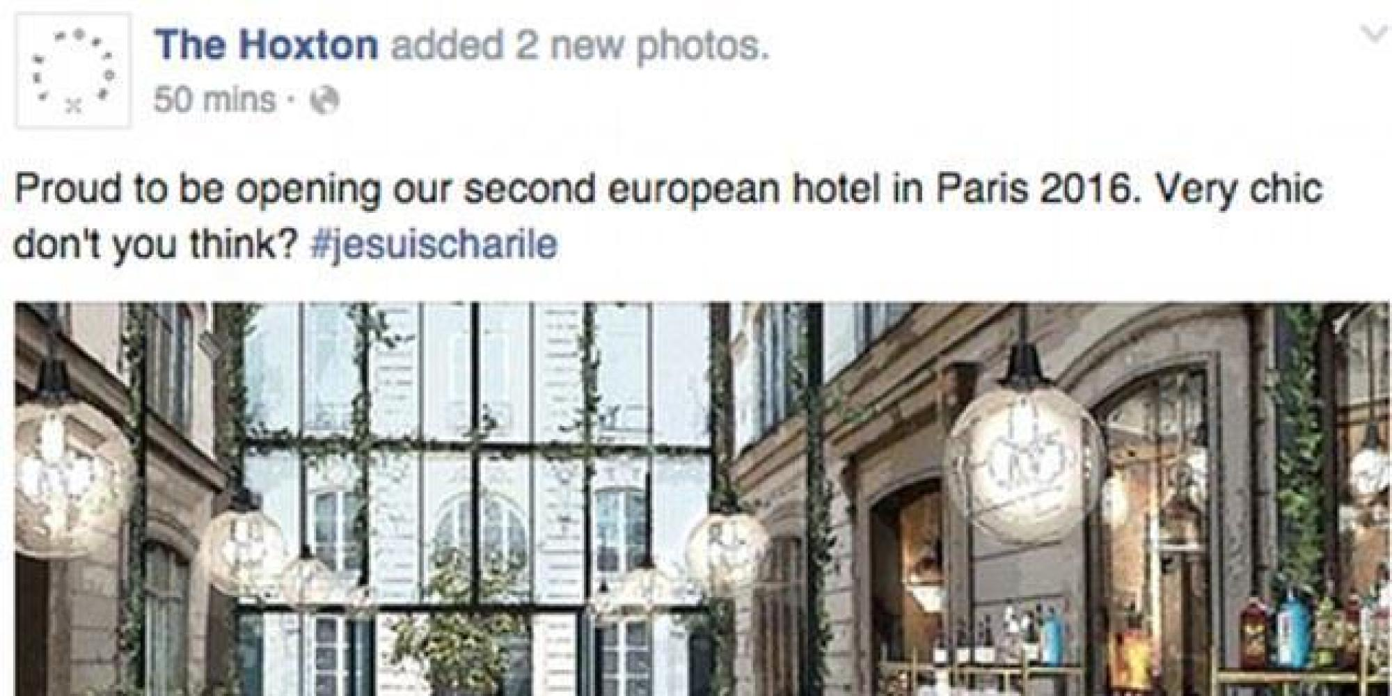 the hoxton hotel group accused of using jesuischarlie to promote new paris hotel. Black Bedroom Furniture Sets. Home Design Ideas
