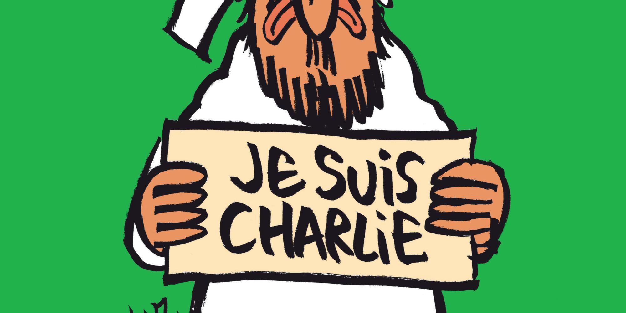 la couverture de charlie hebdo un dessin de mahomet avec une pancarte je suis charlie. Black Bedroom Furniture Sets. Home Design Ideas