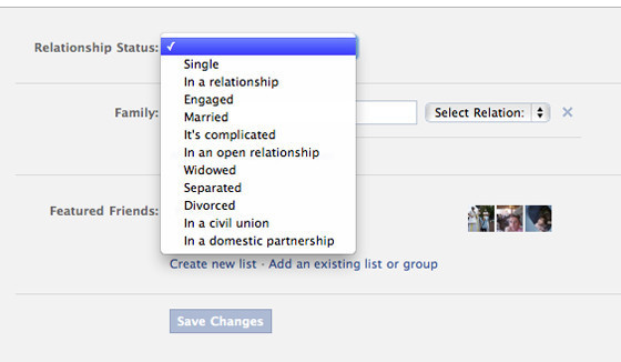 Facebook Adds 'Civil Union,' 'Domestic Partnership' To