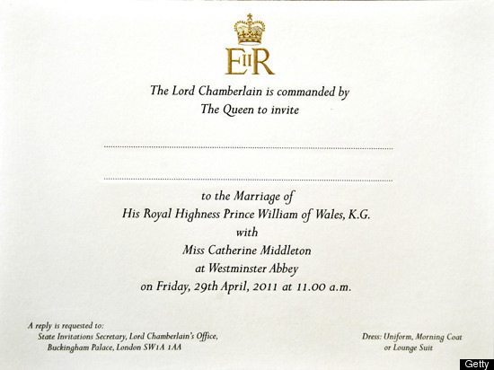 Royal wedding invitations sent dress code reads uniform morning take a look at the invitations and scroll down to keep reading stopboris Gallery