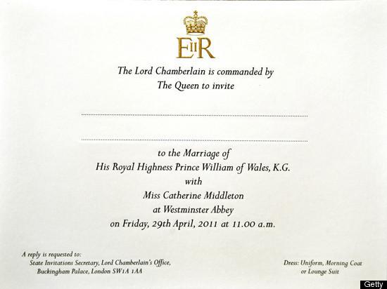 Royal Wedding Invitations Sent Dress Code Reads Uniform Morning Coat Or Lounge Suit PHOTOS