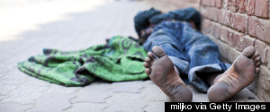 HOMELESS PERSON BAREFOOT