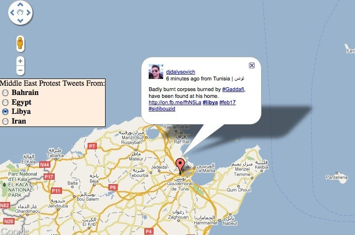 Protests In Libya Bahrain Visualized Using Twitter Google Maps - Map of egypt google maps