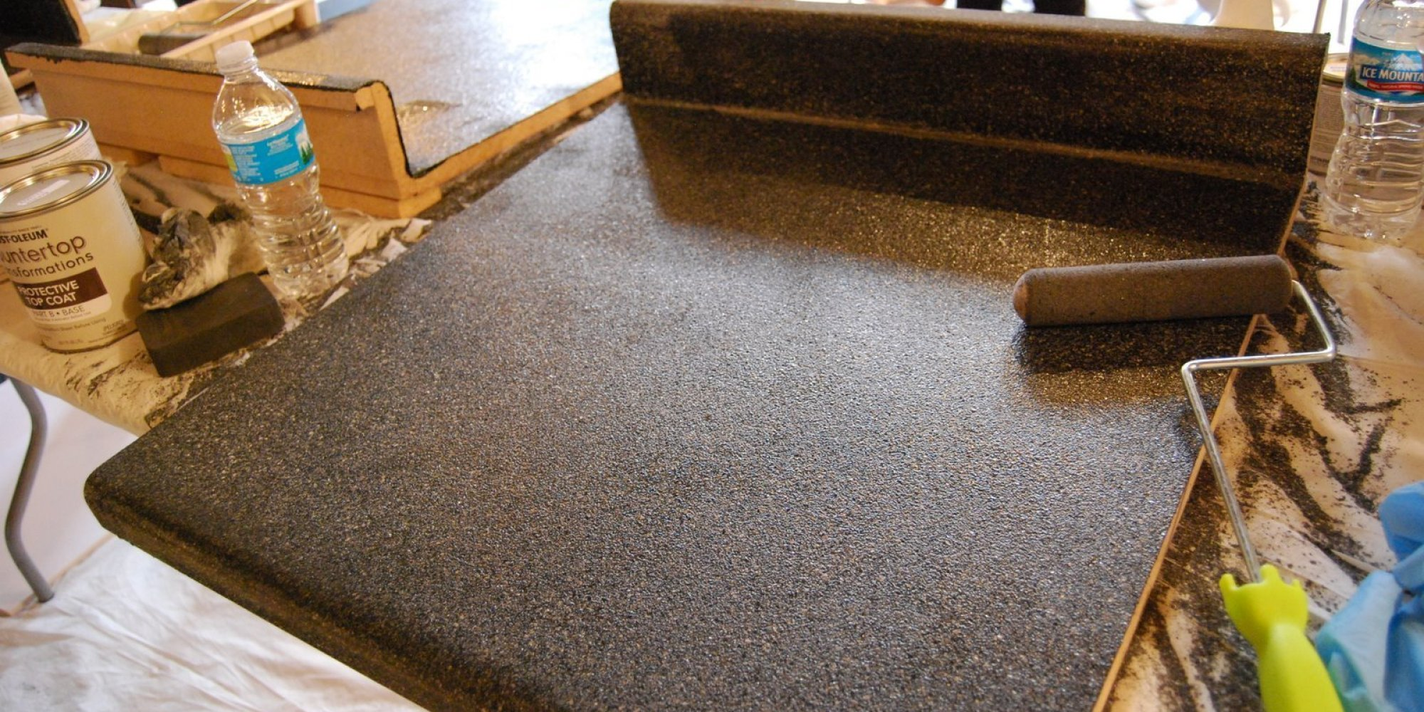 Painted countertops to look like granite -  Paint Your Own Granite Is A Thing And Apparently It Actually Works Huffpost