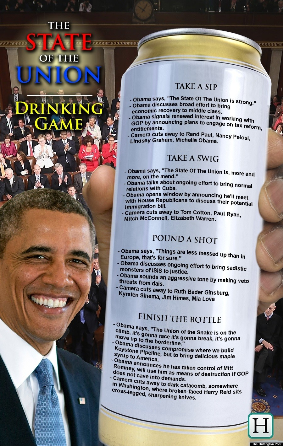 huffington post sotu drinking game revised