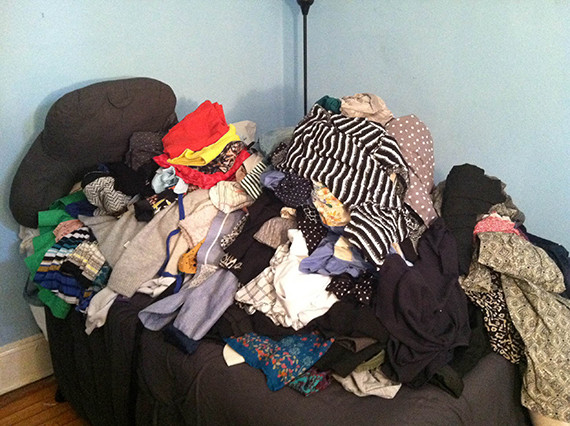 bed clothes pile