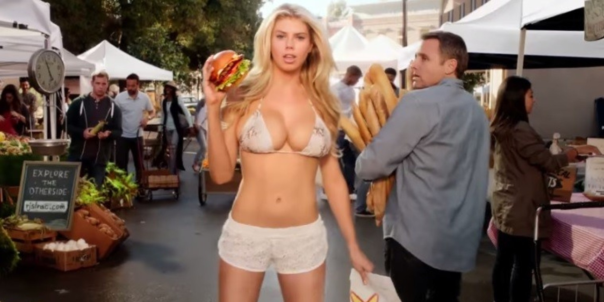 Carl s jr super bowl commercial features an all natural blonde