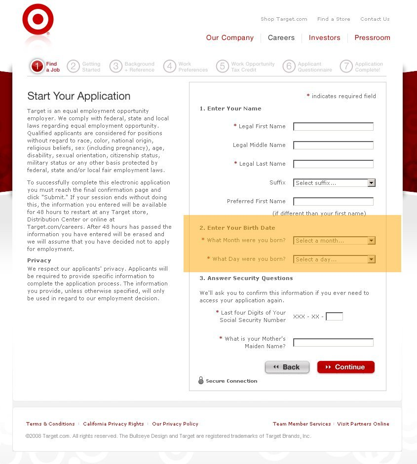 Big Retail Companies Require Job Applicants To Disclose Their Age – Target Job Application