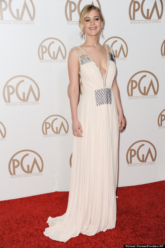 Jennifer Lawrence Is A Vision In A Plunging Gown At The 2015 Producers Guild Awards