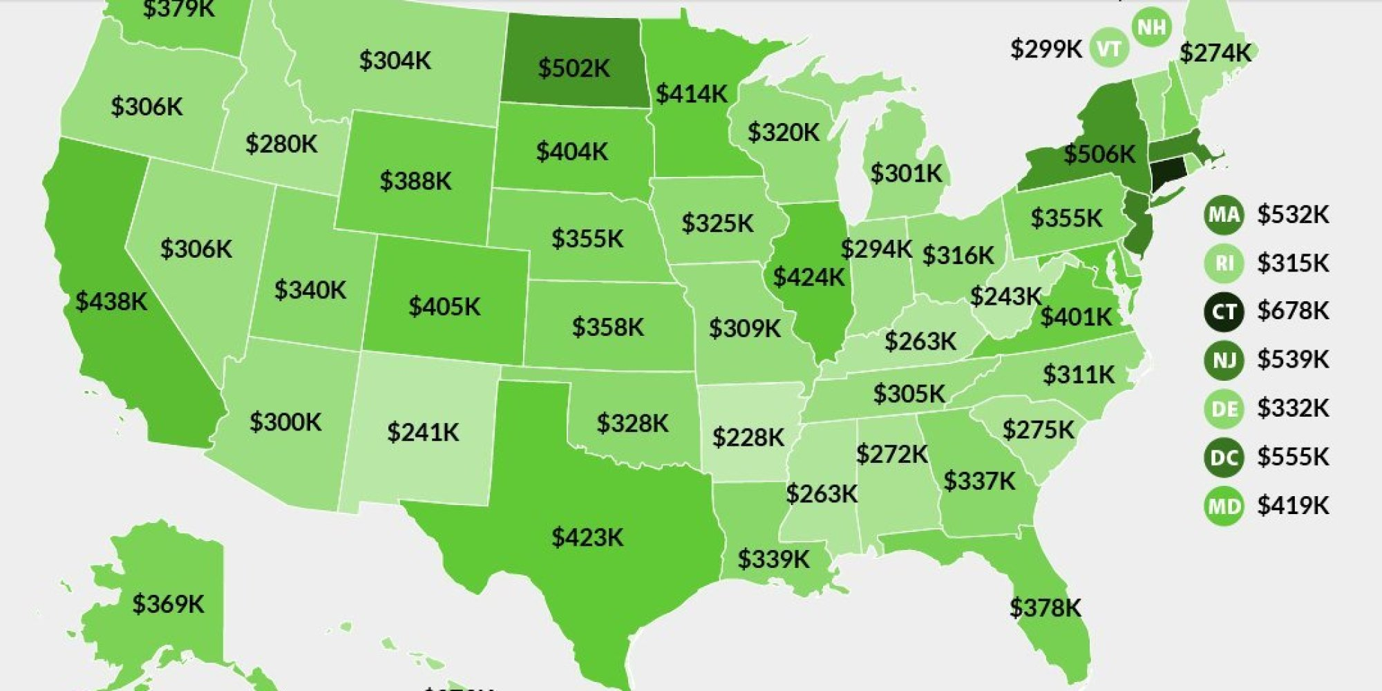 Here S How Much You Have To Earn To Be In The 1 Percent In Each State Huffpost