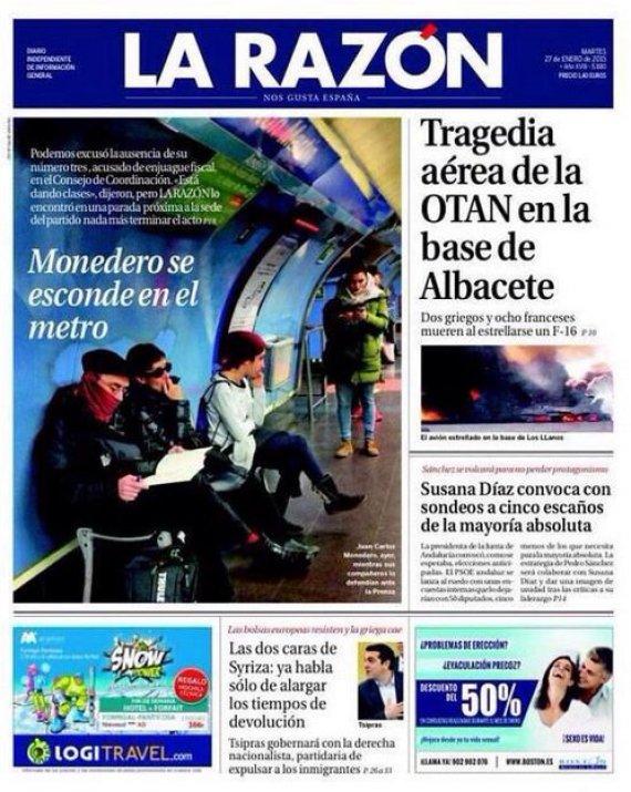Portada de La Razón del 27 de enero de 2015.