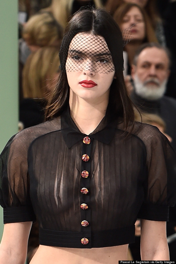 Kendall Jenner Goes Braless In Sheer Shirt For Chanel Paris Fashion