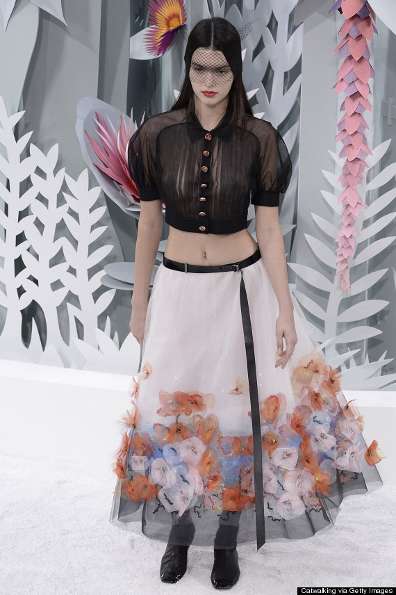 kendall jenner, Kendall Jenner Stuns in Skin Bearing Dress at Chanel's Paris Fashion Week Show