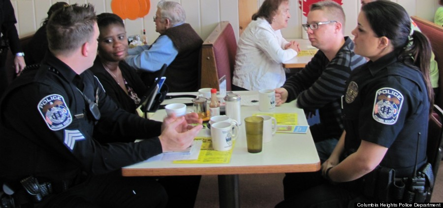 Columbia Heights Police Department Sgts. Justin Pletcher And Maggie Titus  Speak With Residents During A Recent Coffee With A Cop Session.