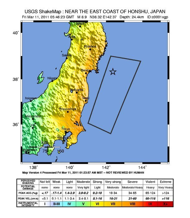 Image result for japan earthquake 2011 map spatial extent shakemap
